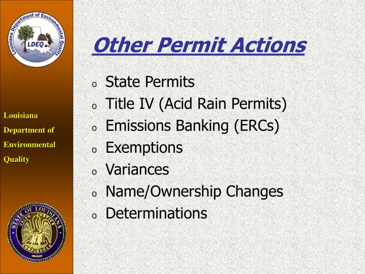 Other Permit Actions