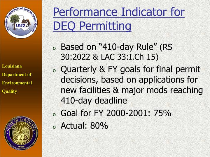 Performance Indicator for DEQ Permitting
