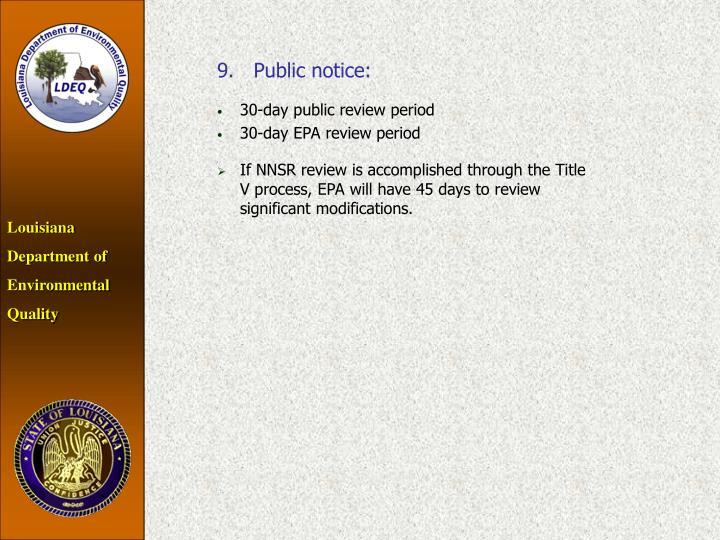 9.Public notice: