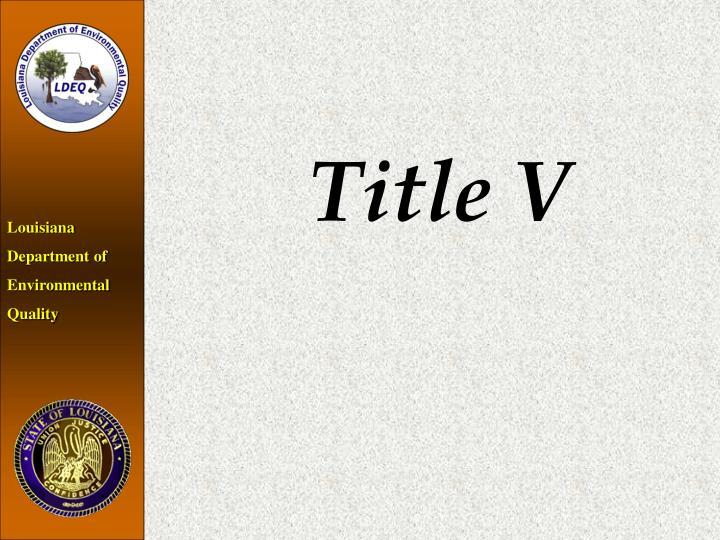 Title V
