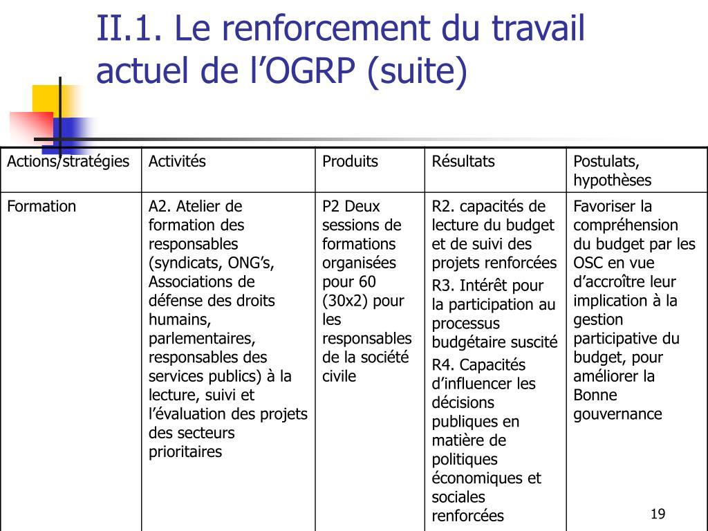 II.1. Le renforcement du travail actuel de l'OGRP (suite)