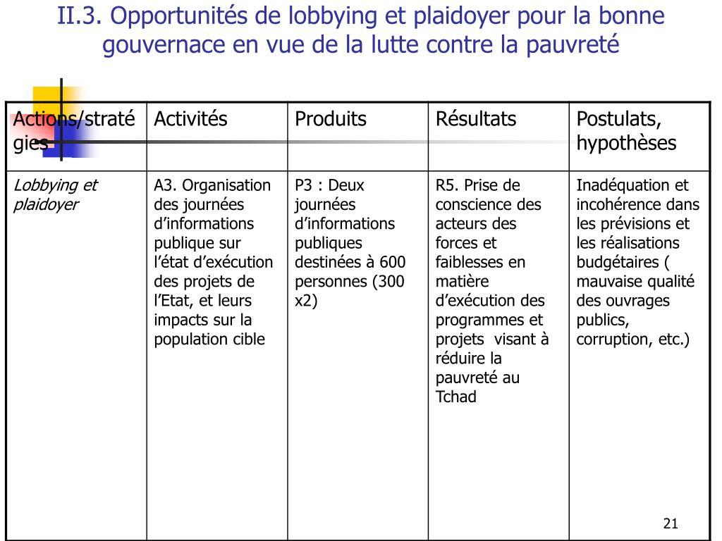 II.3. Opportunités de lobbying et plaidoyer pour la bonne gouvernace en vue de la lutte contre la pauvreté