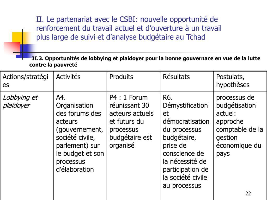 II. Le partenariat avec le CSBI: nouvelle opportunité de