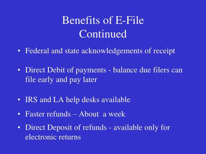 Benefits of E-File