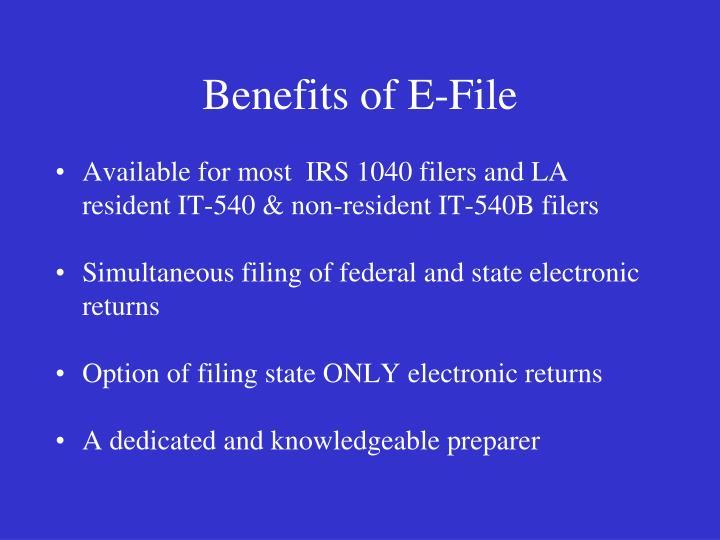 Benefits of e file