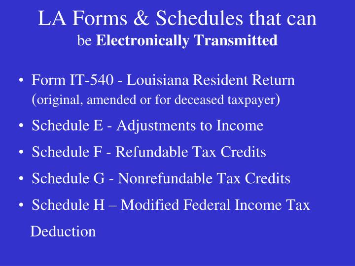 LA Forms & Schedules that can