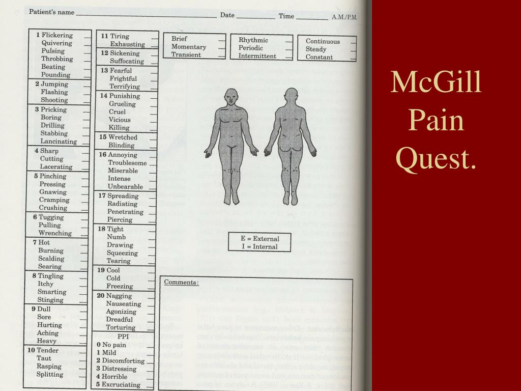 McGill Pain Quest.
