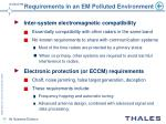 requirements in an em polluted environment