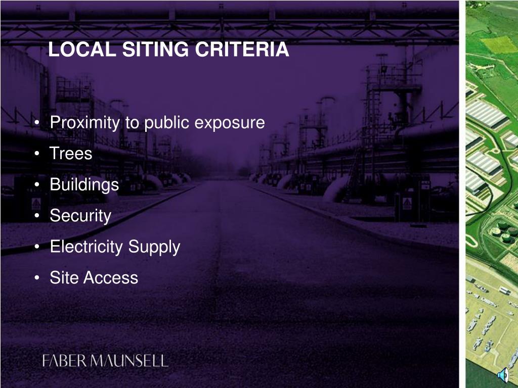 LOCAL SITING CRITERIA
