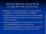 semantic relations among words cf page 270 with critical notes