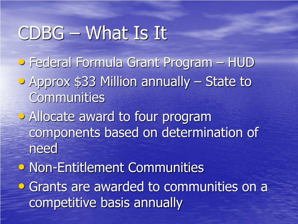 CDBG – What Is It