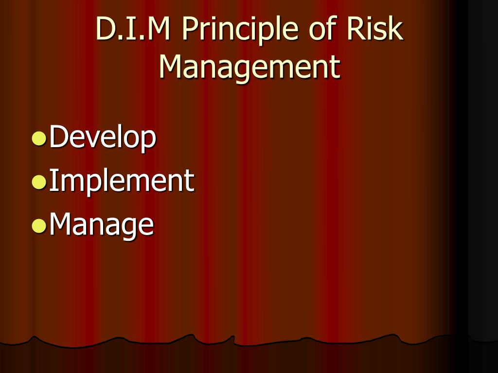 D.I.M Principle of Risk Management