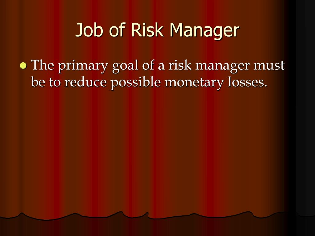 Job of Risk Manager