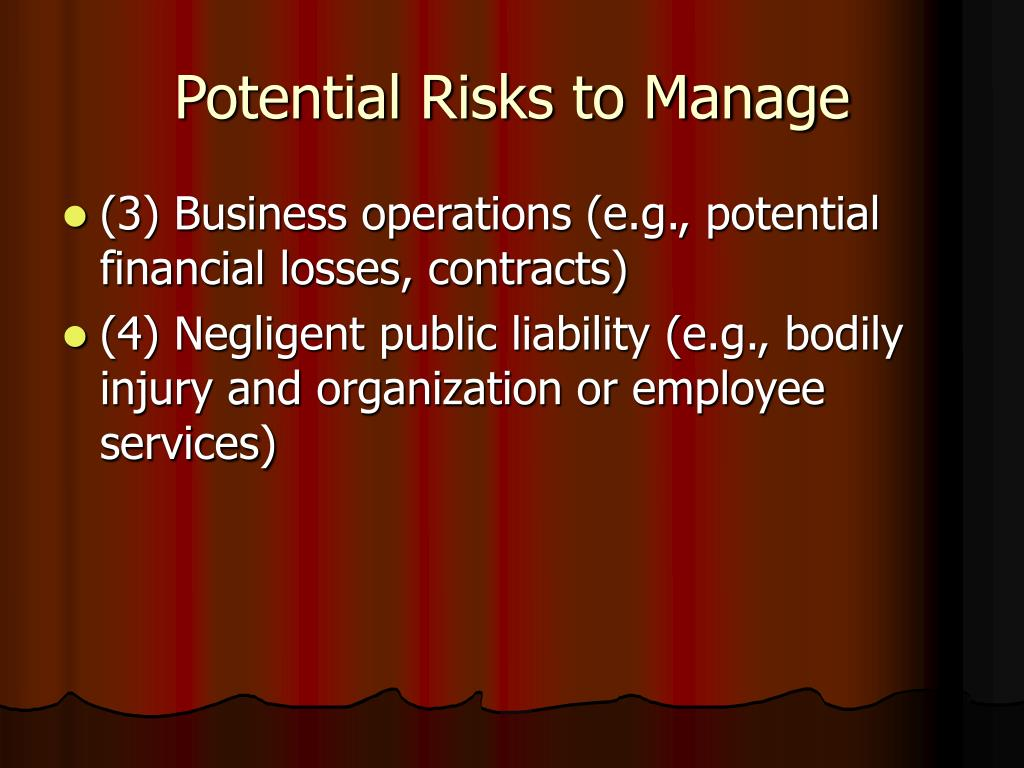 Potential Risks to Manage