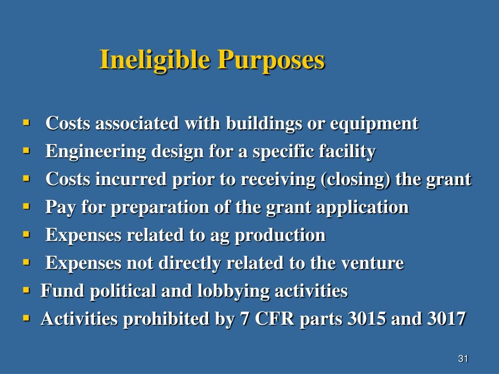 Ineligible Purposes