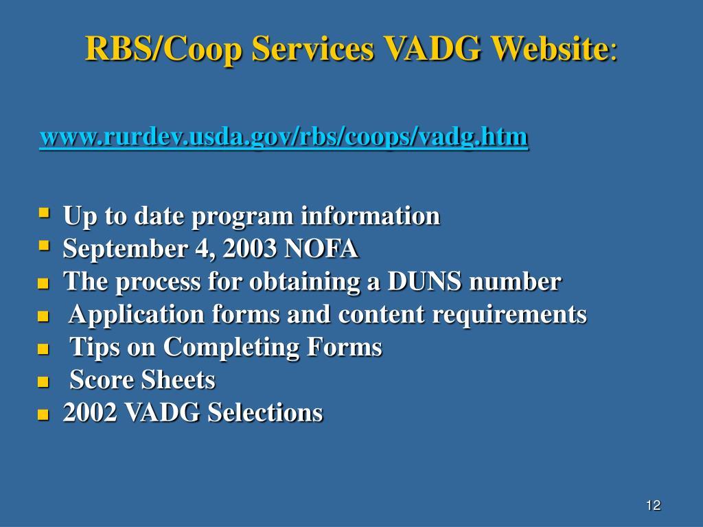 RBS/Coop Services VADG Website