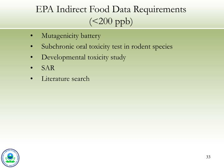EPA Indirect Food Data Requirements (<200 ppb)