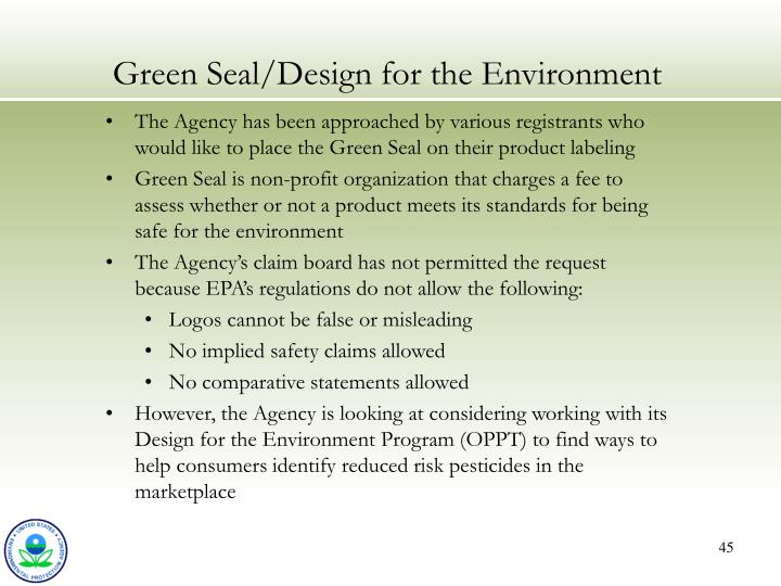 Green Seal/Design for the Environment