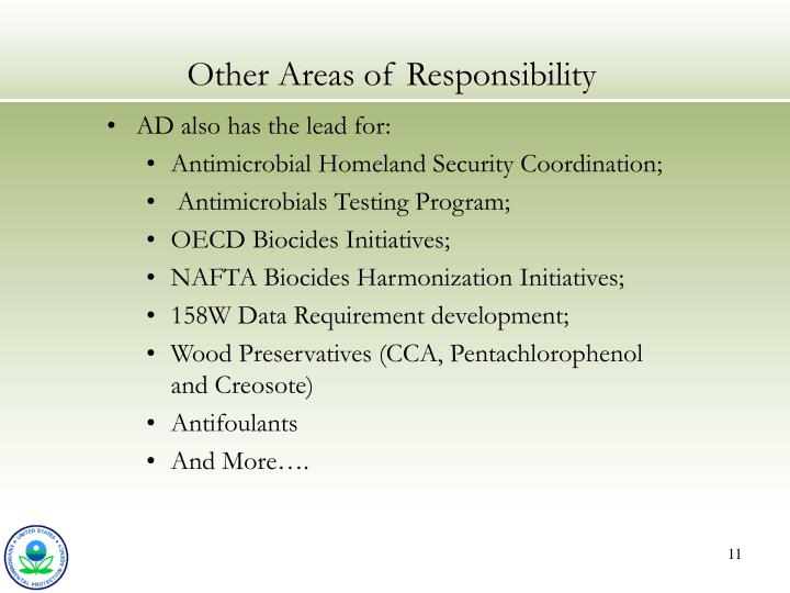 Other Areas of Responsibility