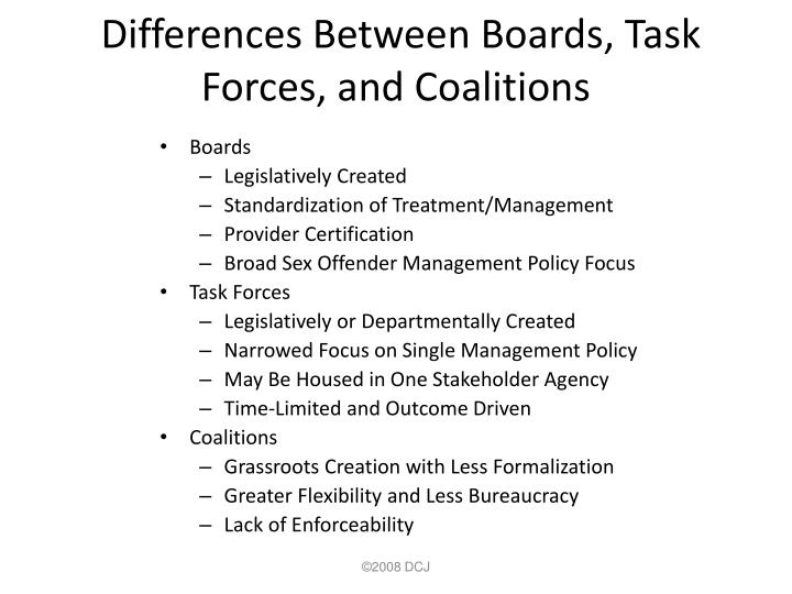 Differences Between Boards, Task Forces, and Coalitions