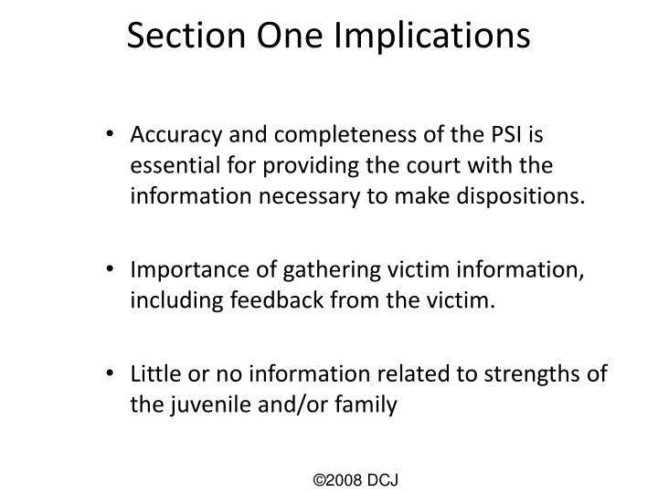 Section One Implications