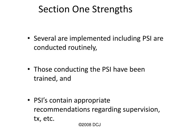 Section One Strengths
