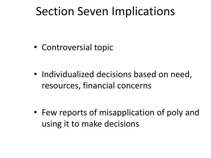 Section Seven Implications