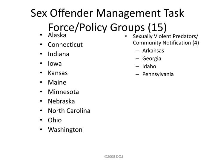 Sex Offender Management Task Force/Policy Groups (15)