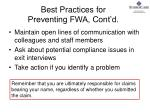 best practices for preventing fwa cont d