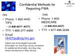 confidential methods for reporting fwa