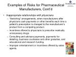 examples of risks for pharmaceutical manufacturers cont d1