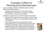 examples of risks for pharmaceutical manufacturers