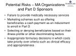 potential risks ma organizations and part d sponsors