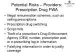 potential risks providers prescription drug fwa