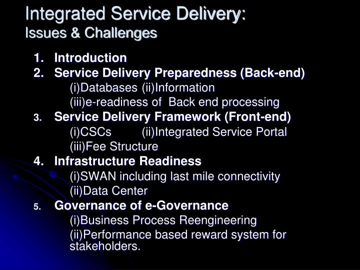 Integrated service delivery issues challenges2