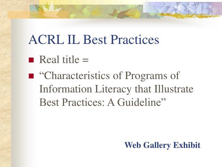 ACRL IL Best Practices