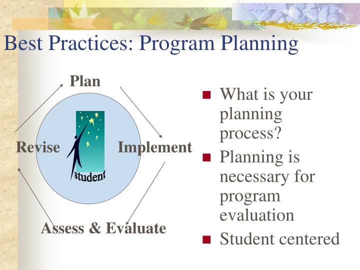 Best Practices: Program Planning
