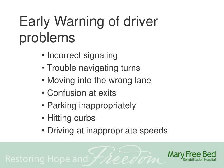 Early Warning of driver problems