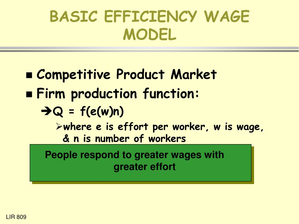 BASIC EFFICIENCY WAGE MODEL