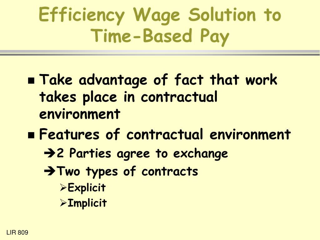 Efficiency Wage Solution to Time-Based Pay