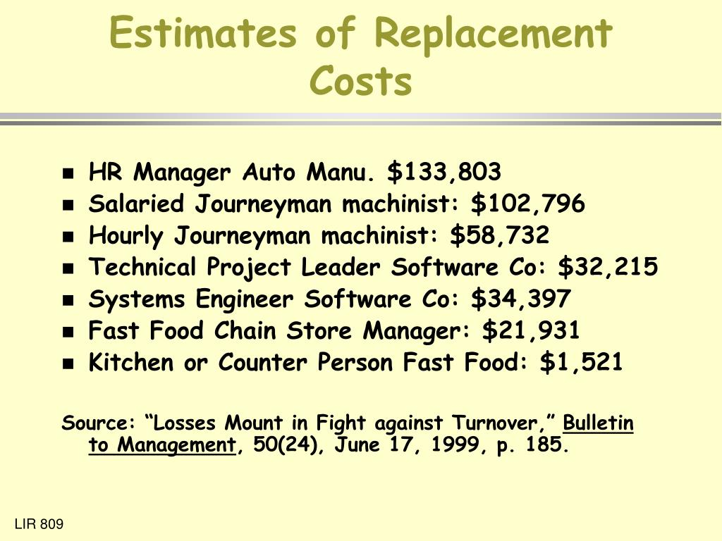 Estimates of Replacement Costs