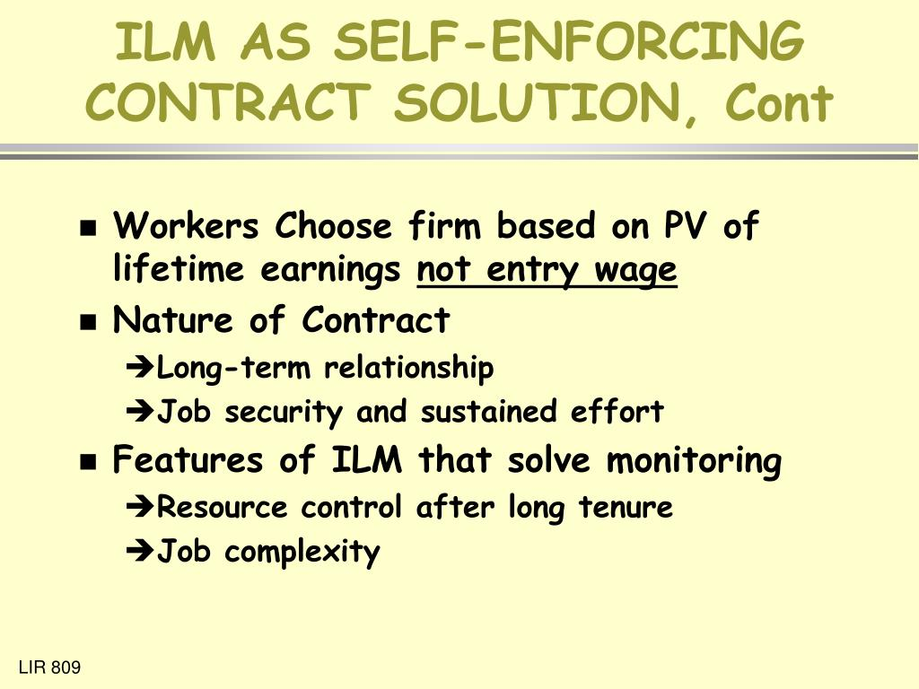 ILM AS SELF-ENFORCING CONTRACT SOLUTION, Cont