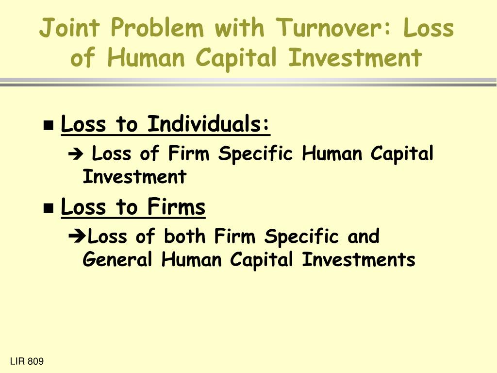 Joint Problem with Turnover: Loss of Human Capital Investment
