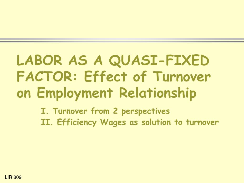LABOR AS A QUASI-FIXED FACTOR: Effect of Turnover on Employment Relationship