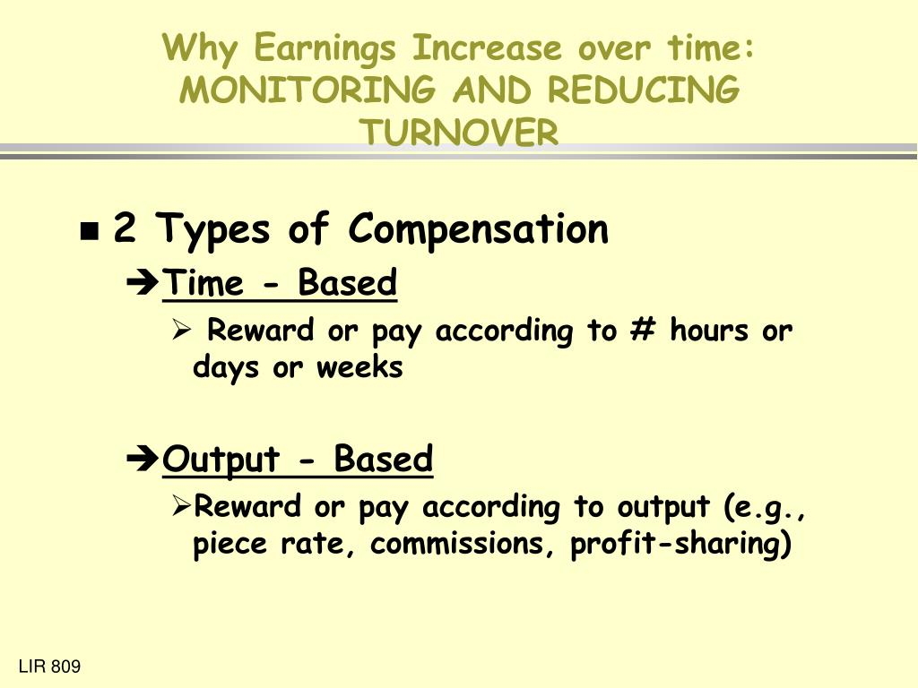 Why Earnings Increase over time: