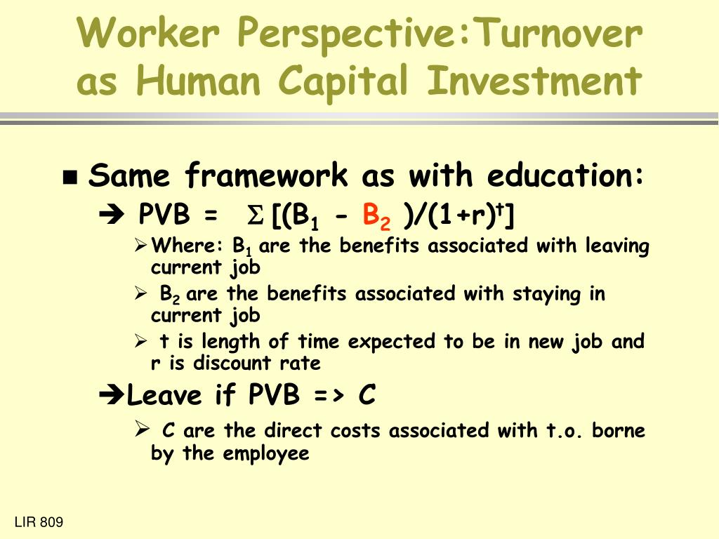 Worker Perspective:Turnover as Human Capital Investment