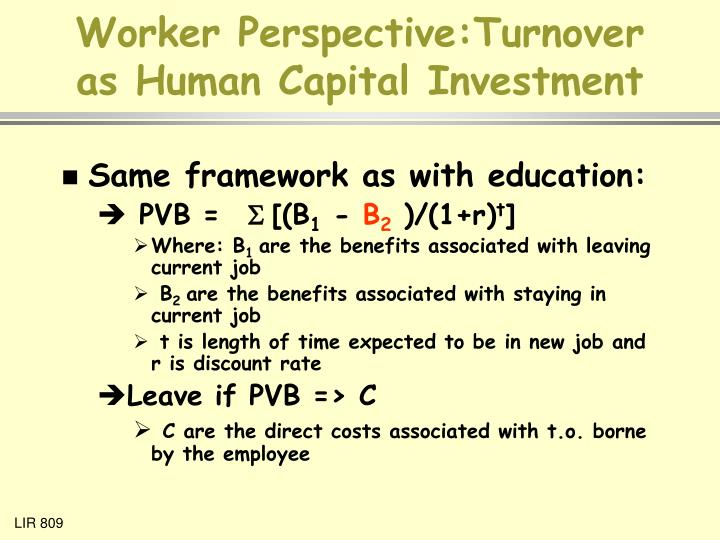 Worker perspective turnover as human capital investment