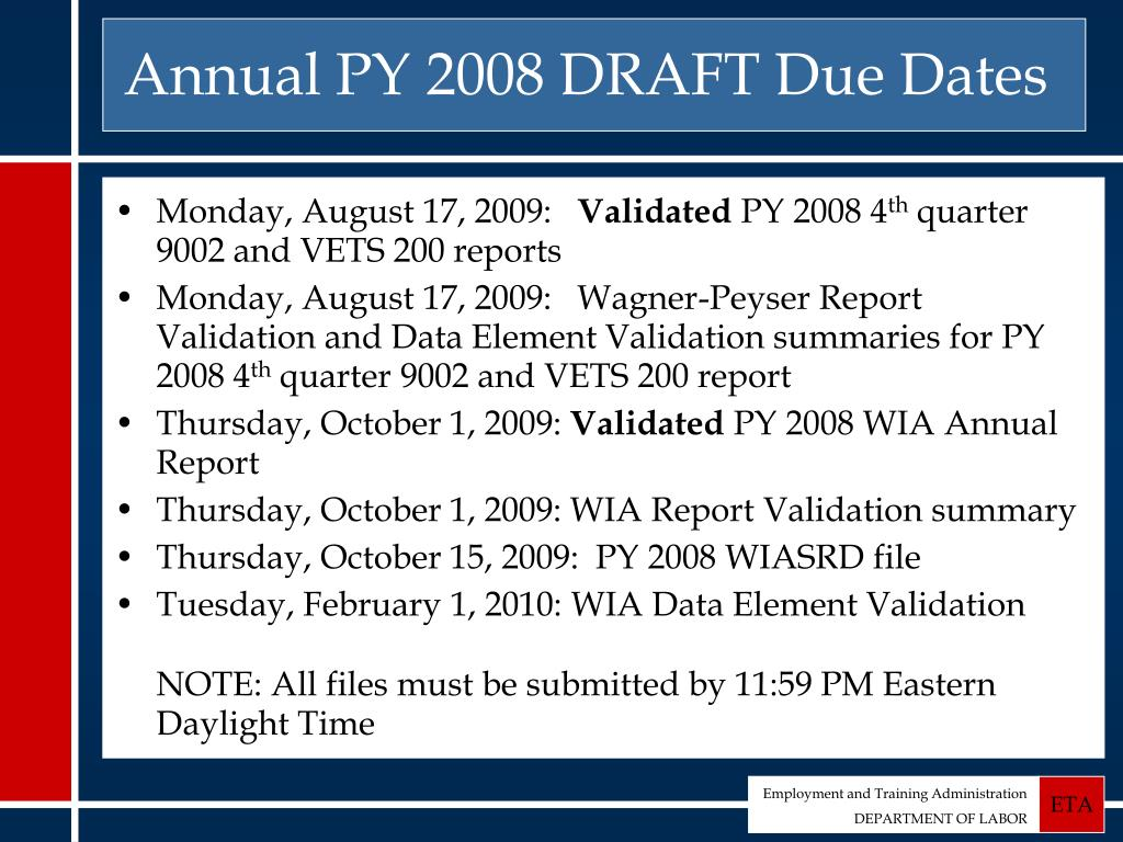 Annual PY 2008 DRAFT Due Dates