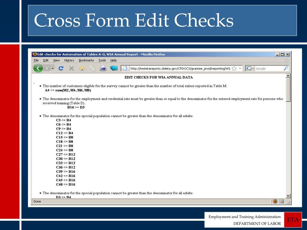 Cross Form Edit Checks