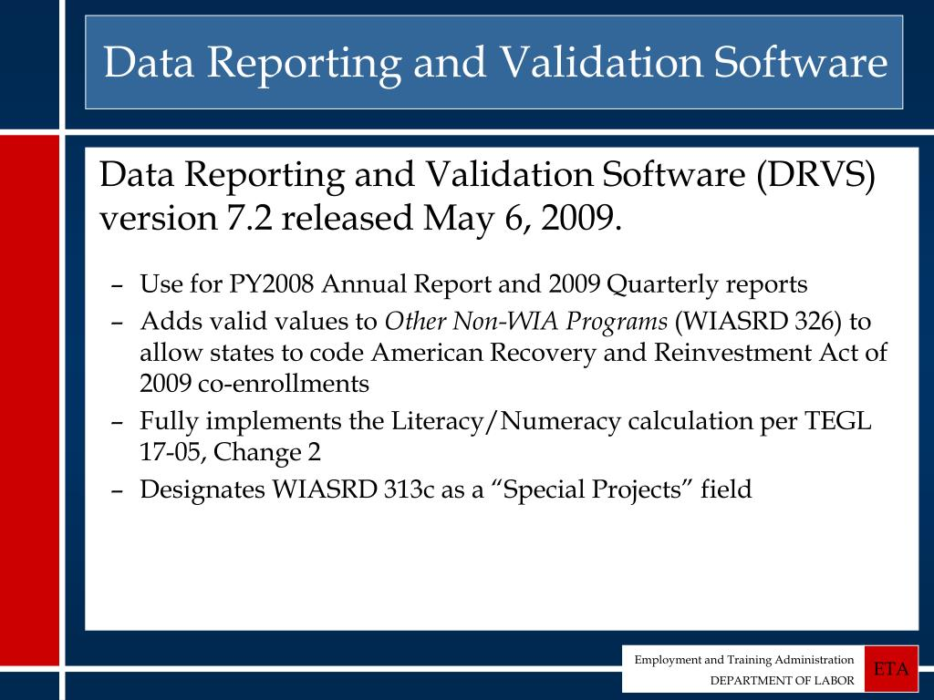 Data Reporting and Validation Software